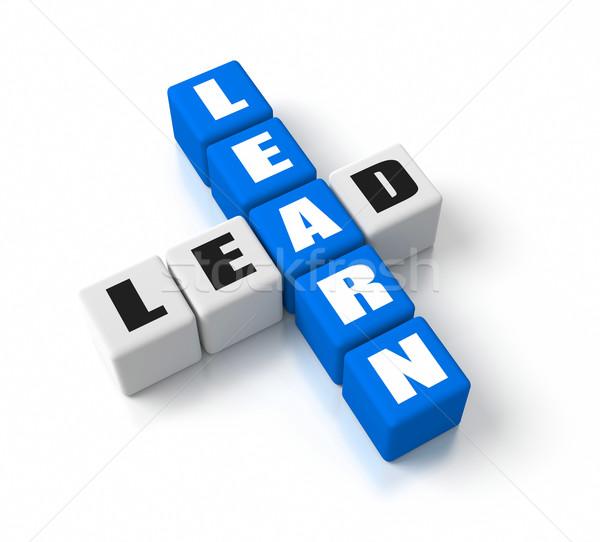 Leren business Blauw tekst witte achtergrond Stockfoto © OutStyle