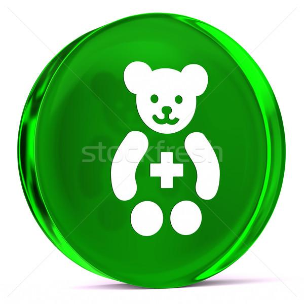 Pediatria szkła ikona biały podpisania Zdjęcia stock © OutStyle