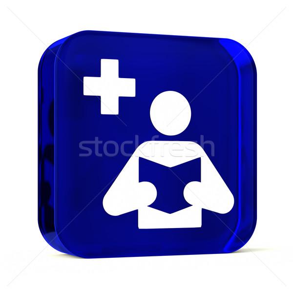 Orvosi könyvtár üveg gomb ikon fehér Stock fotó © OutStyle