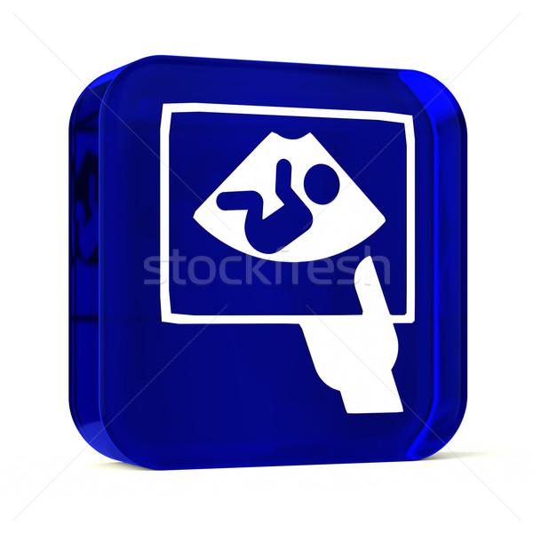 Ultrageluid glas knop icon witte gezondheidszorg Stockfoto © OutStyle