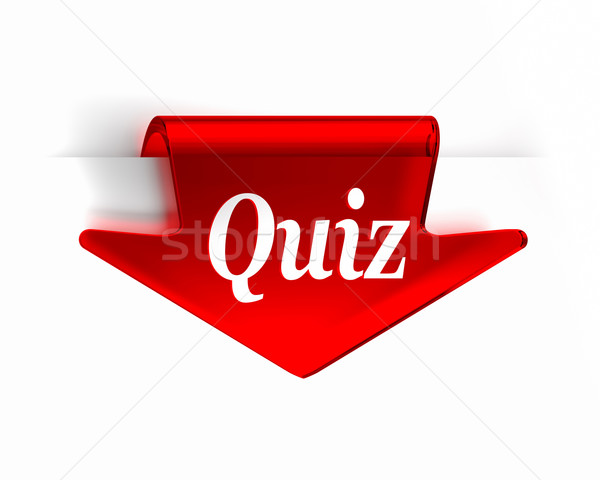 Quiz Rood glas top pijl pagina Stockfoto © OutStyle