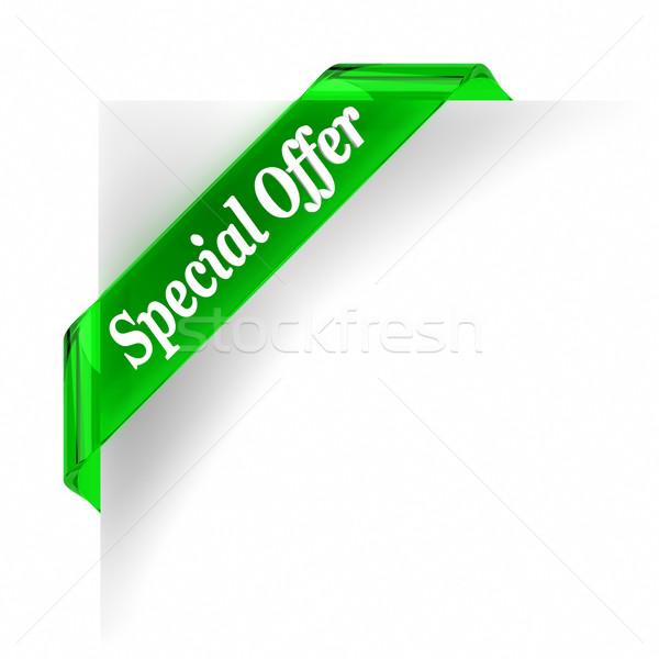 Akció zöld üveg felső szalag fehér Stock fotó © OutStyle