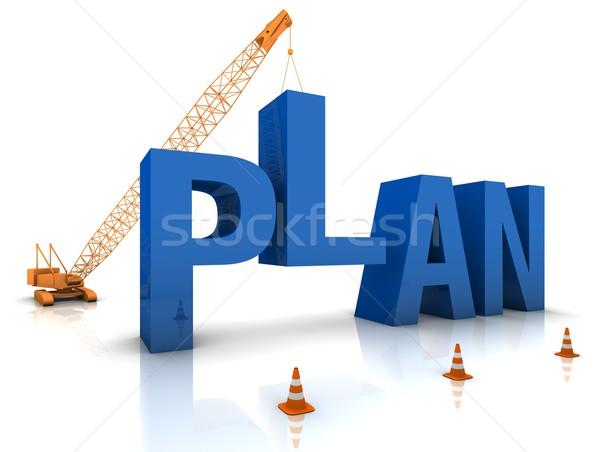 развивающийся плана строительная площадка крана здании синий Сток-фото © OutStyle