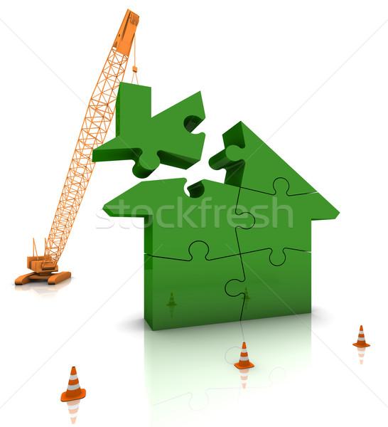 здании зеленый домой строительная площадка крана теплица Сток-фото © OutStyle