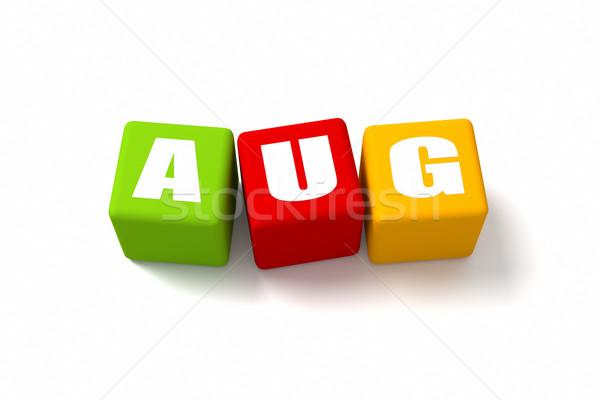 Agosto cubos signo verde azul Foto stock © OutStyle