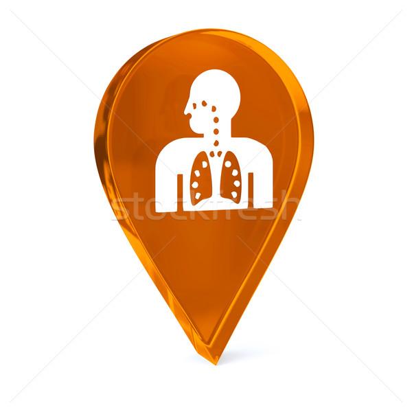 Respiratoria terapia vetro GPS marcatore icona Foto d'archivio © OutStyle