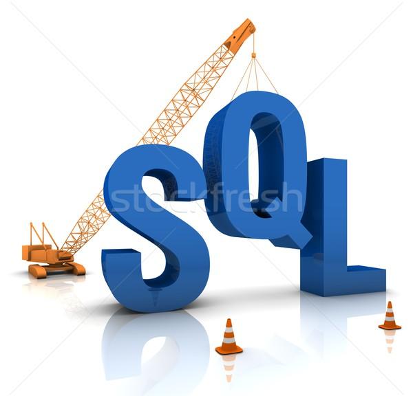 Sql kodowanie budowa Żuraw budynku niebieski Zdjęcia stock © OutStyle