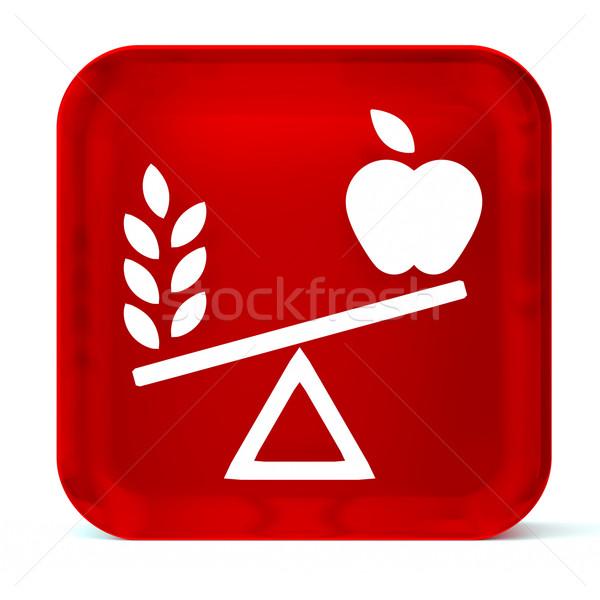 Nutrición vidrio botón icono blanco Foto stock © OutStyle