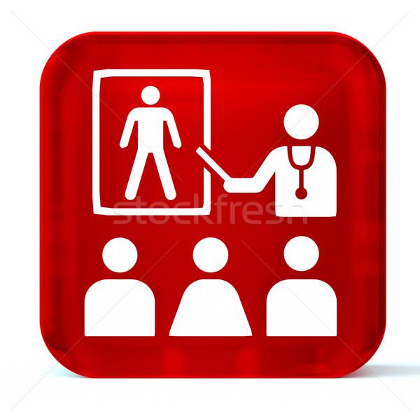 Salud educación vidrio botón icono blanco Foto stock © OutStyle