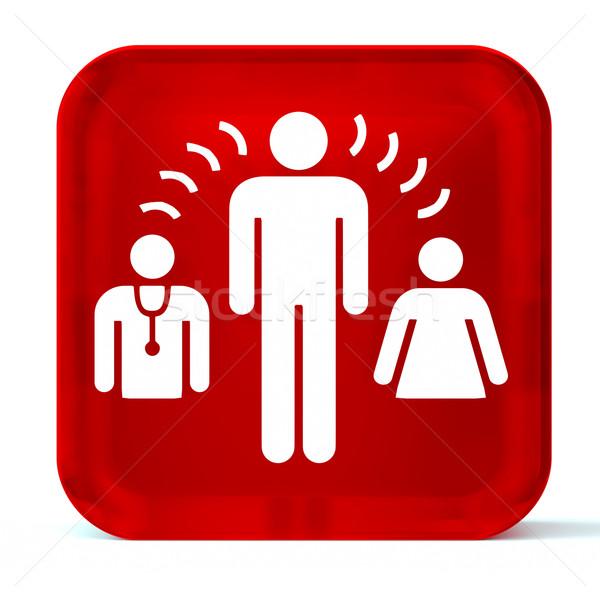 Interprete servizi vetro pulsante icona bianco Foto d'archivio © OutStyle
