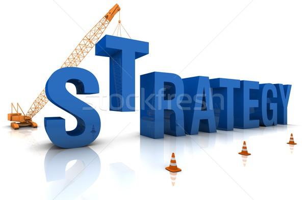 Desarrollo estrategia grúa edificio 3D Foto stock © OutStyle