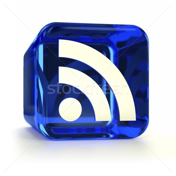 Niebieski rss ikona computer icon technologii Zdjęcia stock © OutStyle
