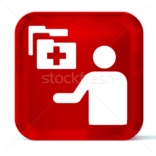 Hospital administración vidrio botón icono blanco Foto stock © OutStyle