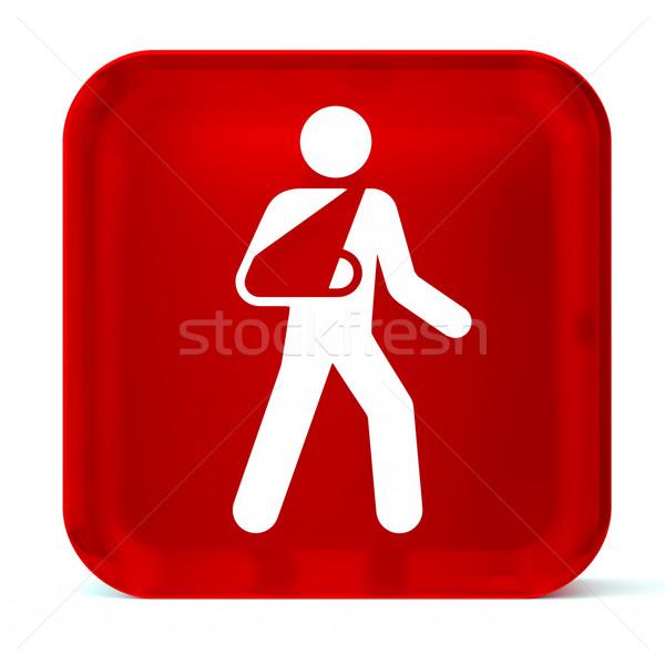 Atención vidrio botón icono blanco Foto stock © OutStyle