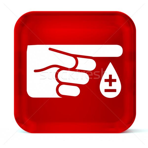 Diabetes vidrio botón icono blanco Foto stock © OutStyle