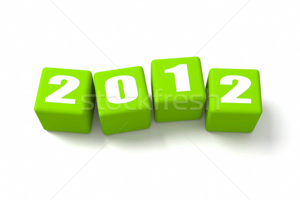 New Year 2012 Green Cubes Stock photo © OutStyle