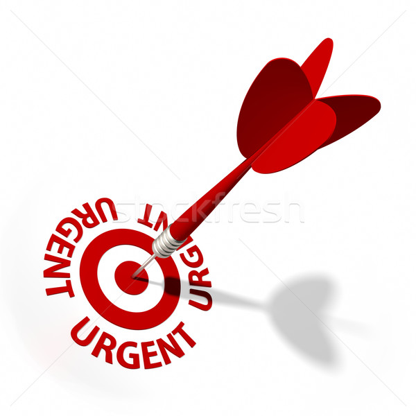 Stockfoto: Urgent · target · dart · tekst · witte