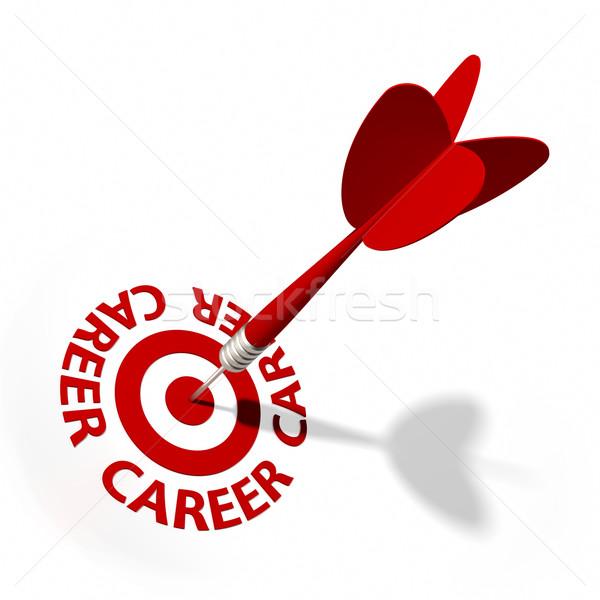 Kariyer hedef pens metin kırmızı Stok fotoğraf © OutStyle