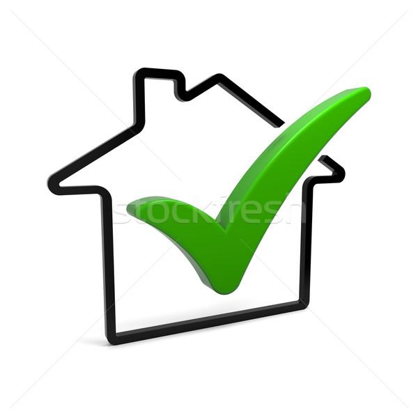 проверить дома символ зеленый икона Сток-фото © OutStyle