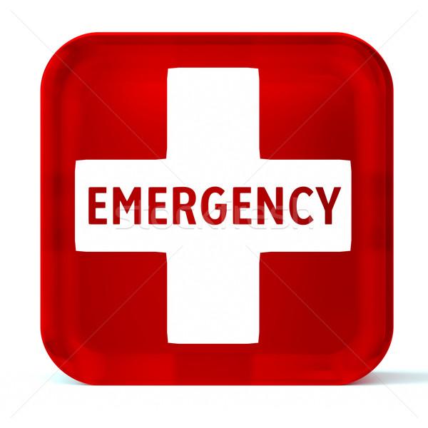 Emergencia médicos servicios vidrio botón icono Foto stock © OutStyle