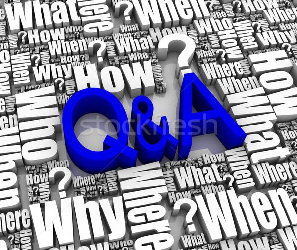 Kérdések válaszok csoport 3D szavak támogatás Stock fotó © OutStyle