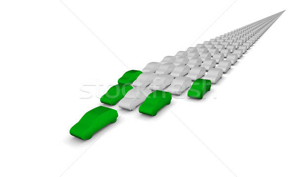 Stock photo: Green cars leading