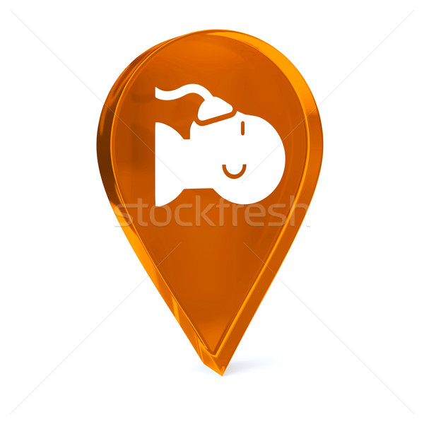 анестезия стекла GPS маркер икона белый Сток-фото © OutStyle