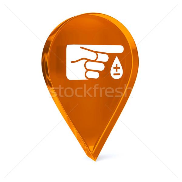 Diabetes vidrio GPS marcador icono blanco Foto stock © OutStyle