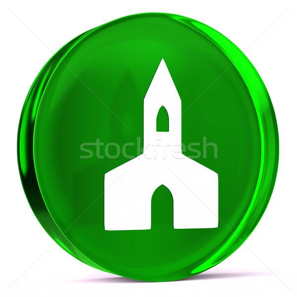 Kórház kápolna üveg ikon fehér egészségügy Stock fotó © OutStyle
