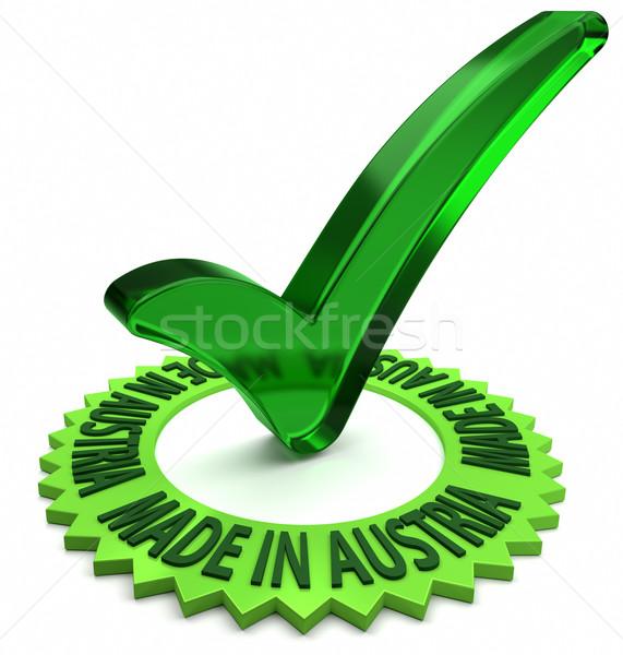 オーストリア 緑 ラベル 3dテキスト チェック マーク ストックフォト © OutStyle