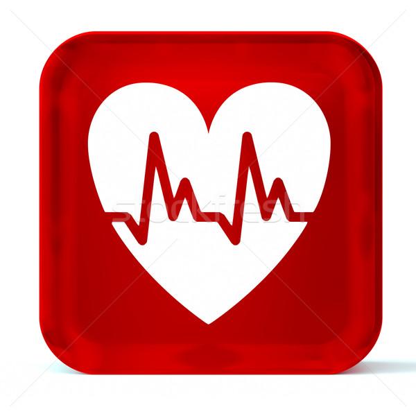 Cardiología vidrio botón icono blanco Foto stock © OutStyle