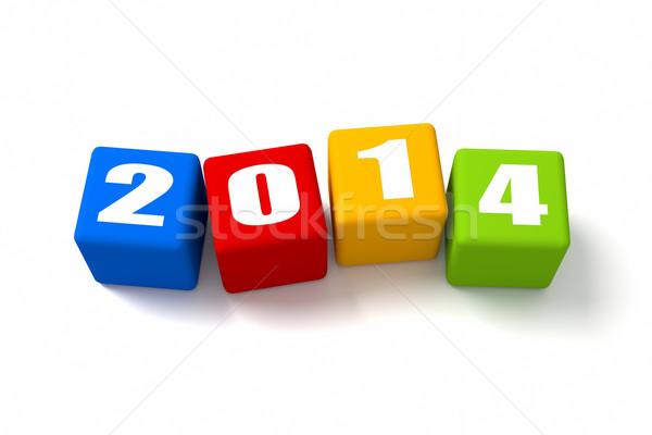 Новый год 2014 знак зеленый Сток-фото © OutStyle