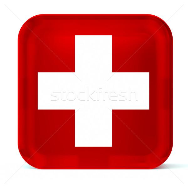Egészség szolgáltatások piros üveg gomb ikon Stock fotó © OutStyle