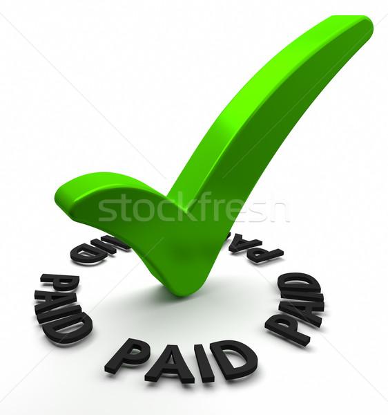 支払われた 緑 チェック マーク 3dテキスト にログイン ストックフォト © OutStyle