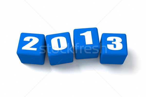 Stock photo: New Year 2013 Blue Cubes