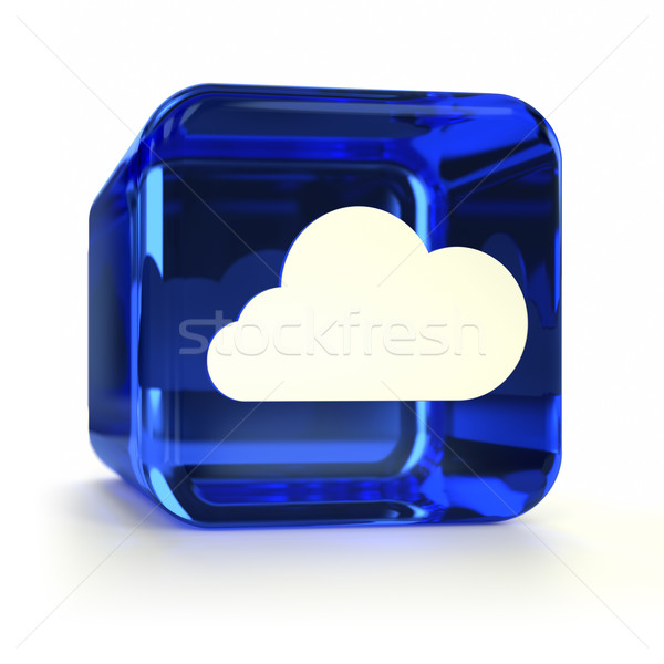 Blauw icon glas internet Stockfoto © OutStyle