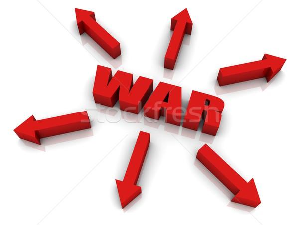 Guerra texto en 3d flechas senalando rojo poder Foto stock © OutStyle