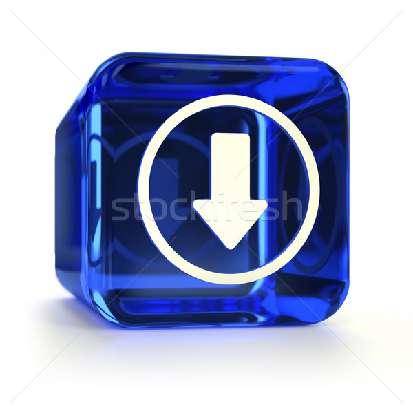 Blau Download Icon Glas download Stock foto © OutStyle