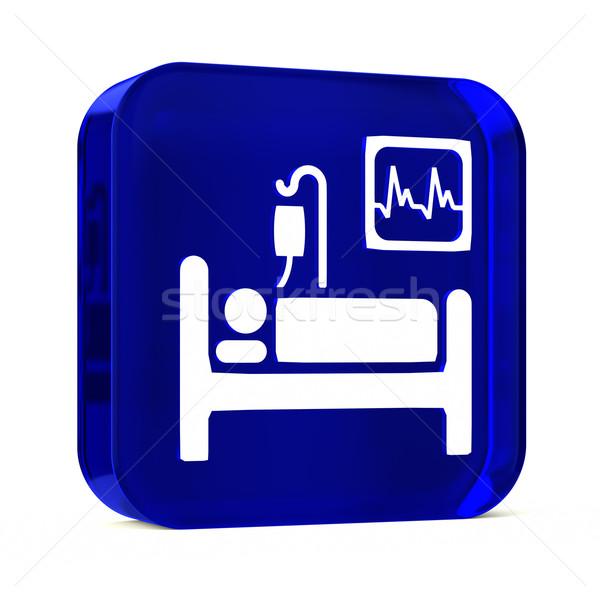Intensywny opieki szkła przycisk ikona biały Zdjęcia stock © OutStyle