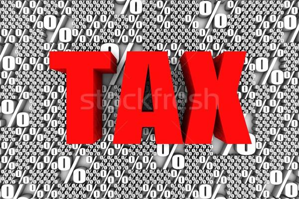 Vergi 3d metin yüzde imzalamak simge beyaz Stok fotoğraf © OutStyle