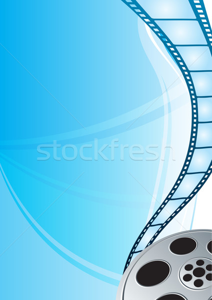 Film strip cinema vídeo brilhante azul fundo Foto stock © oxygen64