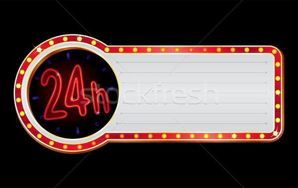 Foto stock: Abrir · brilhante · néon · vermelho · 24 · símbolo
