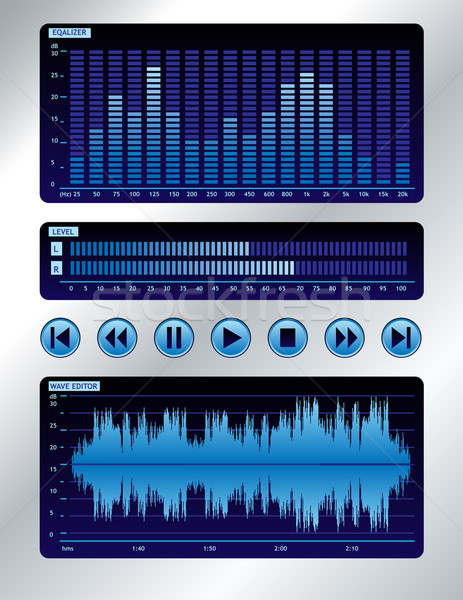 Blauw geluid mixer golf editor spectrum Stockfoto © oxygen64