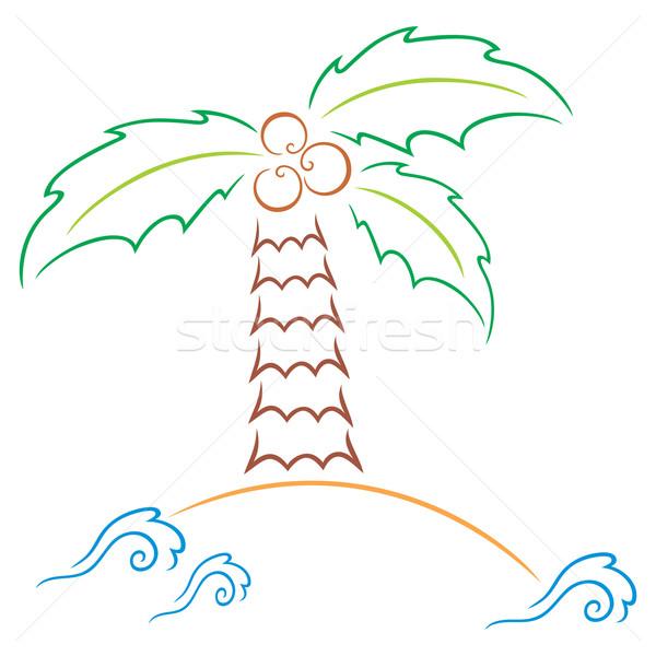 Palmiye ada sıcak kuşak simge deniz ağaç Stok fotoğraf © oxygen64