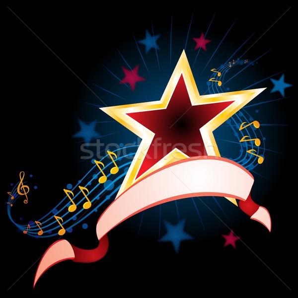 Müzik star müzik notaları şerit siyah parti Stok fotoğraf © oxygen64