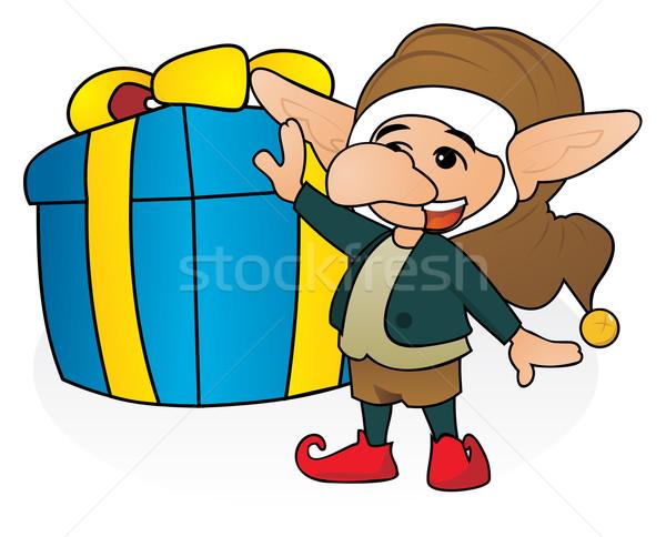 Hediye cüce mutlu dev Noel kutu Stok fotoğraf © oxygen64