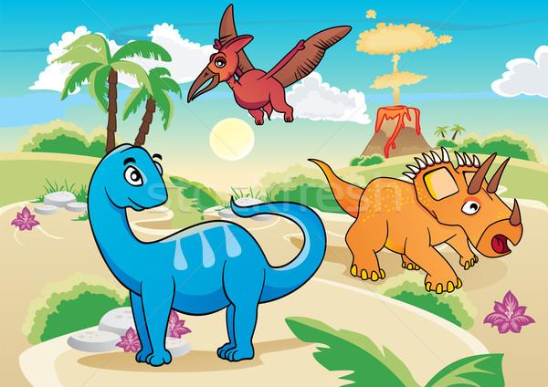 Cartoon dinosaurs Stock photo © oxygen64