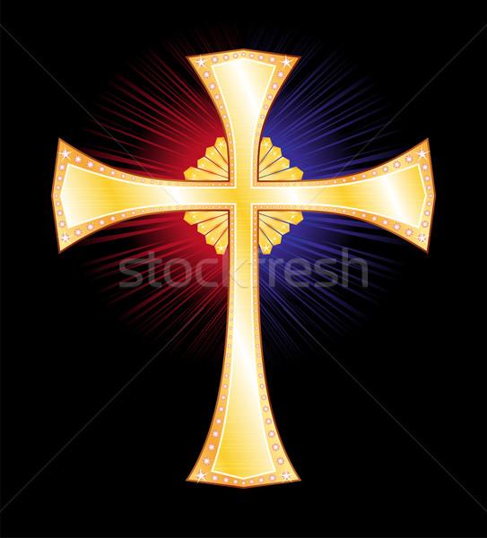 Altın çapraz Hristiyan simge rays ışık Stok fotoğraf © oxygen64