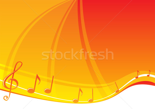 Photo stock: Musique · notes · de · musique · lumineuses · orange · design · fond