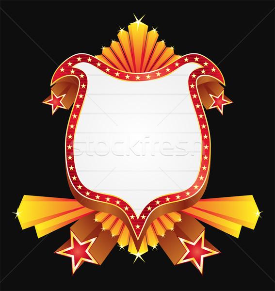 Kalkan Yıldız rozet altın süslemeleri kırmızı Stok fotoğraf © oxygen64